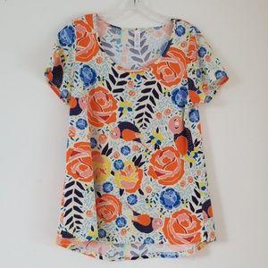 LuLaRoe Classic T Birds Roses Mosaic T Shirt Top